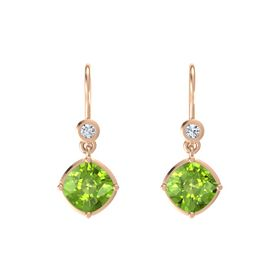Cushion Peridot 18K Rose Gold Earring with Diamond