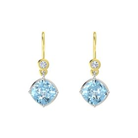 Cushion Aquamarine 18K White Gold Earring with Diamond