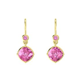 Cushion Pink Sapphire 18K Yellow Gold Earring with Pink Sapphire