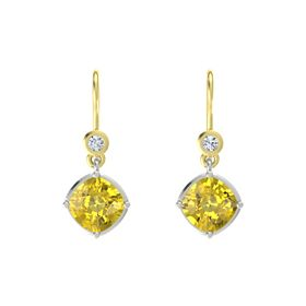 Cushion Yellow Sapphire Platinum Earrings with Diamond