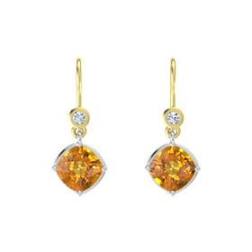 Cushion Citrine Sterling Silver Earrings with Diamond