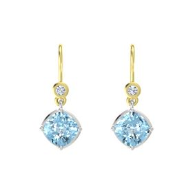 Cushion Aquamarine Sterling Silver Earrings with Diamond
