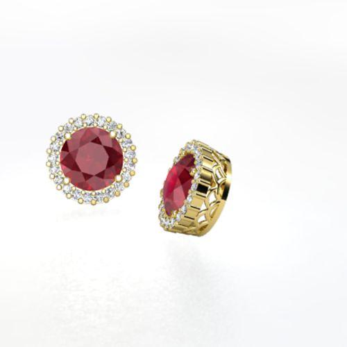 Margarita Earrings Round Ruby 14k Yellow Gold Earring With Diamond