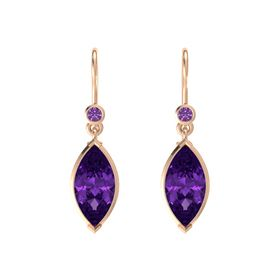 Marquise Amethyst 14K Rose Gold Earring with Amethyst