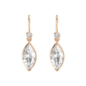 Marquise Rock Crystal 14K Rose Gold Earrings with Diamond