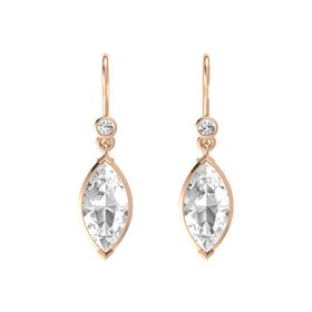 Marquise Rock Crystal 14K Rose Gold Earring with White Sapphire