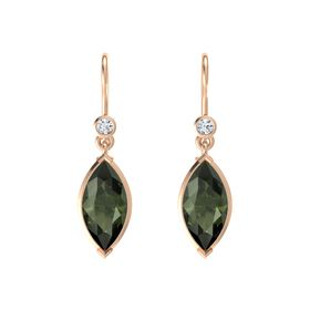 Marquise Green Tourmaline 14K Rose Gold Earrings with Diamond