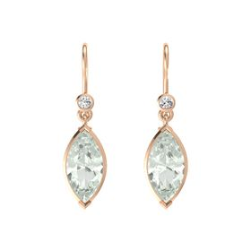 Marquise Green Amethyst 14K Rose Gold Earrings with White Sapphire