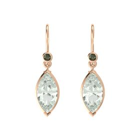 Marquise Green Amethyst 14K Rose Gold Earrings with Green Tourmaline