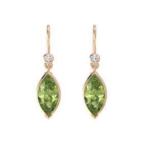 Marquise Peridot 14K Rose Gold Earrings with Diamond