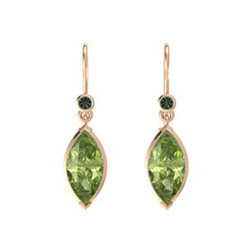 Marquise Peridot 14K Rose Gold Earring with Alexandrite