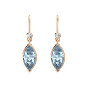 Marquise Aquamarine 14K Rose Gold Earrings with Diamond