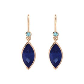 Marquise Blue Sapphire 14K Rose Gold Earring with London Blue Topaz