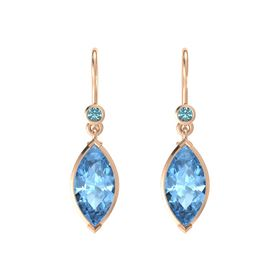 Marquise Blue Topaz 14K Rose Gold Earring with London Blue Topaz