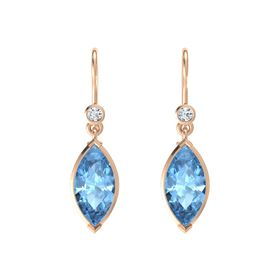 Marquise Blue Topaz 14K Rose Gold Earrings with Diamond