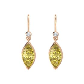 Marquise Yellow Sapphire 14K Rose Gold Earrings with Diamond
