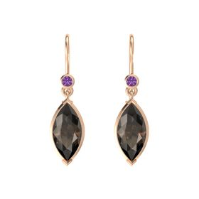 Marquise Smoky Quartz 14K Rose Gold Earring with Amethyst