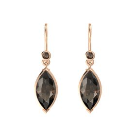 Marquise Smoky Quartz 14K Rose Gold Earrings with Smoky Quartz