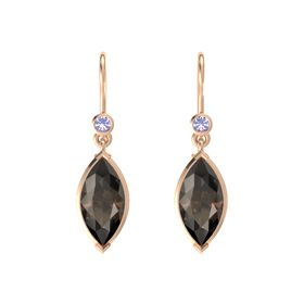 Marquise Smoky Quartz 14K Rose Gold Earring with Tanzanite