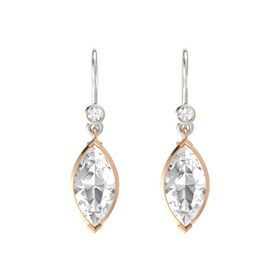 Marquise Rock Crystal 14K Rose Gold Earring with Rock Crystal