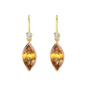 Marquise Citrine 14K Rose Gold Earring with Diamond