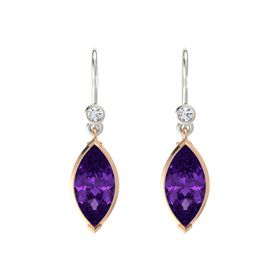 Marquise Amethyst 14K Rose Gold Earring with Diamond