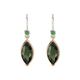 Marquise Green Tourmaline 14K Rose Gold Earrings with Emerald