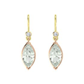 Marquise Green Amethyst 14K Rose Gold Earring with Diamond