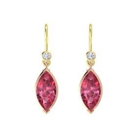 Marquise Pink Tourmaline 14K Rose Gold Earring with Diamond