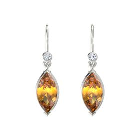 Marquise Citrine 14K White Gold Earrings with Diamond