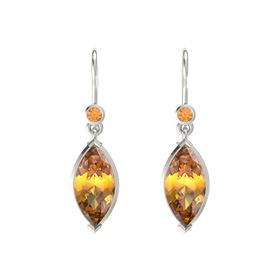 Marquise Citrine 14K White Gold Earring with Citrine
