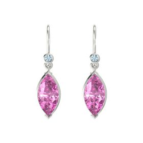 Marquise Pink Sapphire 14K White Gold Earrings with Aquamarine