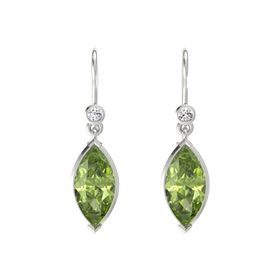 Marquise Peridot 14K White Gold Earrings with White Sapphire