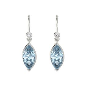 Marquise Aquamarine 14K White Gold Earrings with White Sapphire