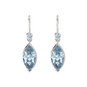 Marquise Aquamarine 14K White Gold Earrings with Aquamarine