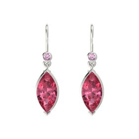 Marquise Pink Tourmaline 14K White Gold Earrings with Pink Sapphire
