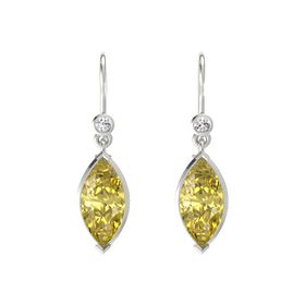 Marquise Yellow Sapphire 14K White Gold Earrings with White Sapphire