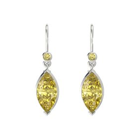 Marquise Yellow Sapphire 14K White Gold Earring with Yellow Sapphire