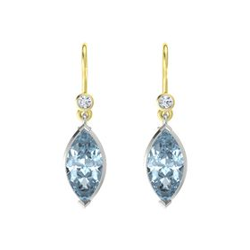Marquise Aquamarine 14K White Gold Earring with Diamond