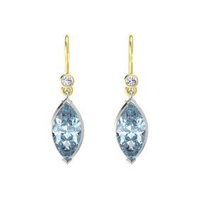Marquise Aquamarine 14K White Gold Earring with White Sapphire
