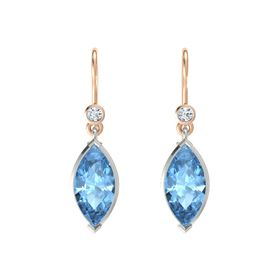 Marquise Blue Topaz 14K White Gold Earring with Diamond