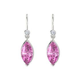 Marquise Pink Sapphire 14K White Gold Earrings with Diamond
