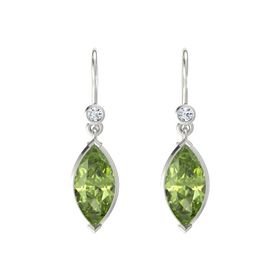 Marquise Peridot 14K White Gold Earrings with Diamond