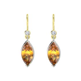 Marquise Citrine 14K White Gold Earring with Diamond
