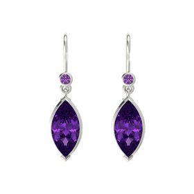 Marquise Amethyst 14K White Gold Earring with Amethyst