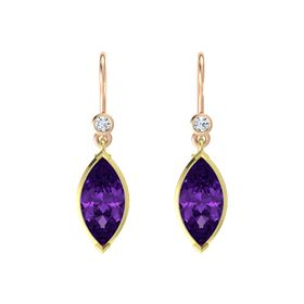 Marquise Amethyst 14K Yellow Gold Earring with Diamond