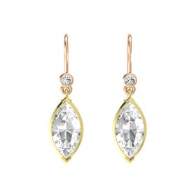 Marquise Rock Crystal 14K Yellow Gold Earring with White Sapphire