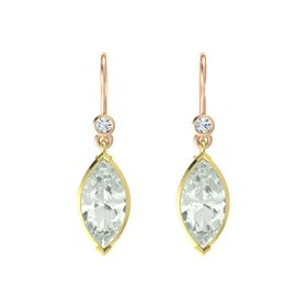 Marquise Green Amethyst 14K Yellow Gold Earrings with Diamond