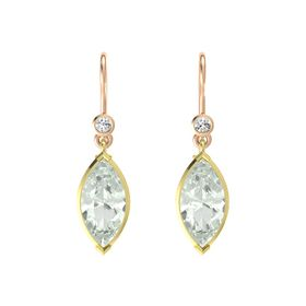 Marquise Green Amethyst 14K Yellow Gold Earring with White Sapphire