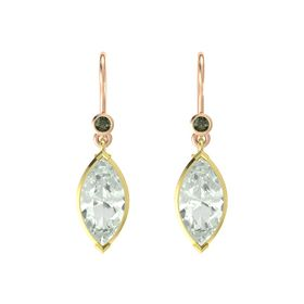 Marquise Green Amethyst 14K Yellow Gold Earring with Green Tourmaline